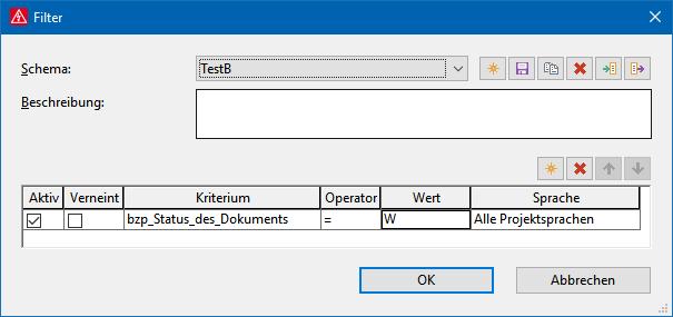 """Filterschema """"TestB"""" für die Auswertungsvorlage """"Titelblatt_B""""."""