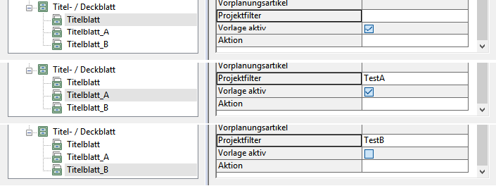 """Aktive Vorlagen wenn der Wert für den Dokumentenstatus """"P"""" ist."""