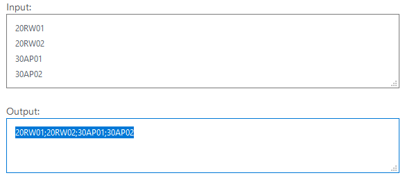 multilineToCSV: Mehrzeiligen Text in das <em>Input</em>-Feld kopieren, in das <em>Output</em>-Feld wechseln und den konvertierten Text kopieren/ausschneiden.