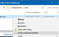 Rasches und bequemes Erstellen einer Sicherungskopie einer Datei aus deren Kontextmenü heraus.