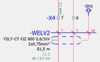 Unterstützende Zusatzinformationen anzeigen lassen. Hier: Außendurchmesser des Kabels und BMK der Abschirmung (zur Kontrolle).