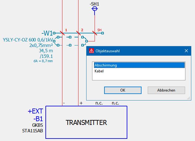 Eigenschaften bearbeiten: Entweder Abschirmung oder Kabel.