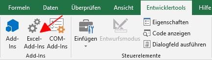 Aufruf der Excel-Add-Ins-Verwaltung.