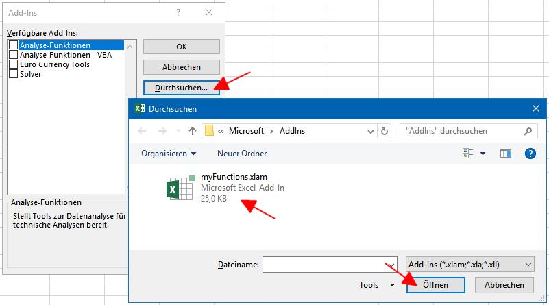 Auswählen und Verfügbar machen eines neuen Excel-Add-Ins.