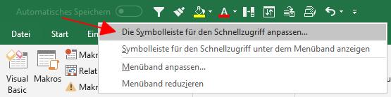 Excel: Dialog zum Anpassen der Symbolleiste für den Schnellzugriff per Kontextmenü aufrufen.