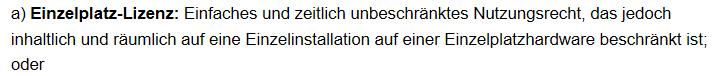 Einzelplazlizenz: Auszug aus den AGB von Eplan.